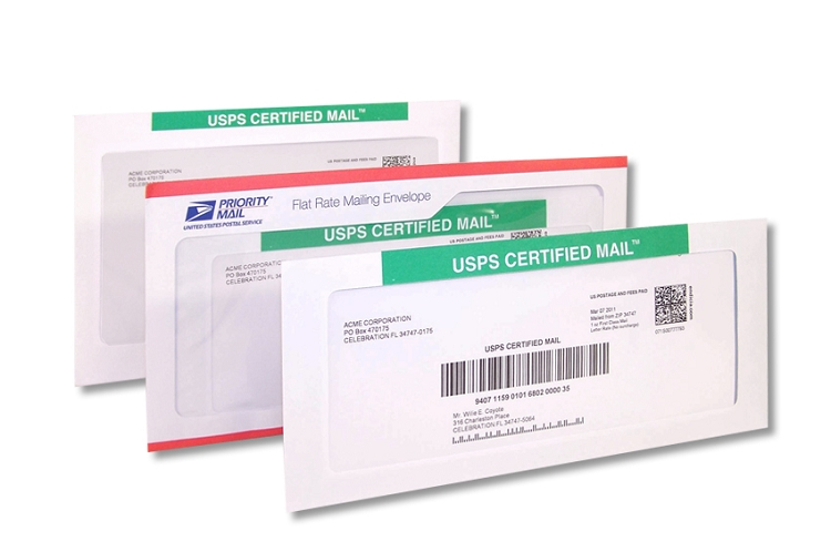 certified mail envelopes with pc postage online