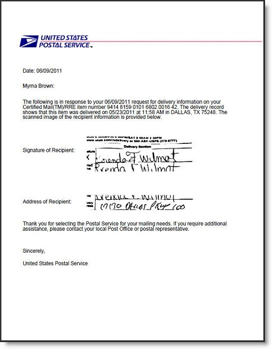 Return Receipt Electronic Signature (2020)