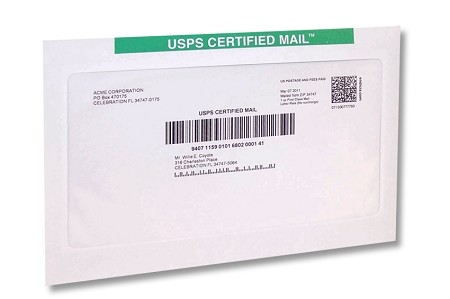 Certified Mail Envelopes Flat Size 9x12 - Pack of 450 Envelopes for Certified Mail Labels